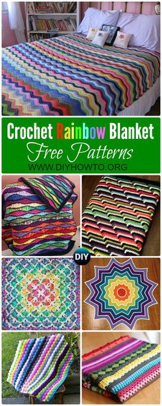 Collection of Crochet Rainbow Blanket Free Patterns: Crochet Baby Blanket, Rainbow Afghan Blanket, Star Blanket, Ripple Blanket, Bedspread via @diyhowto