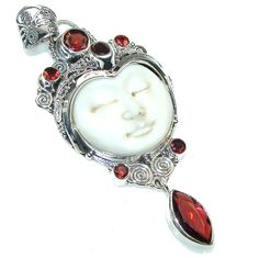 $66.15 Fashion White Face Moonface, Garnet Sterling Silver Pendant at www.SilverRushStyle.com #pendant #handmade #jewelry #silver #moonface