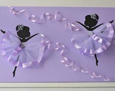 Purple ballerina wall art. Large 12X24 canvas.
