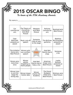 Oscar Bingo -- Free printable.  Thinking Out Loud Thursday - February 19, 2015