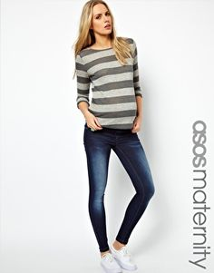 Enlarge ASOS Maternity Ridley Skinny Jeans In Dark Vintage Wash With Stretch Waistband