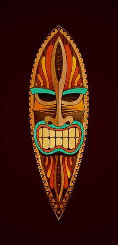 colorful tiki mask showing teeth surfboard