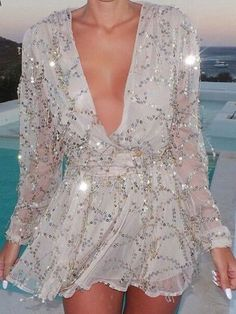 Deep V Neck Sequined Chiffon Dress