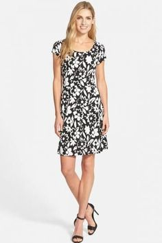 MICHAEL Michael Kors 'Hayes' Floral Print Cap Sleeve Fit & Flare Dress $ 60.70  Dress #expensive women's clothing stores in #low prize #shoppersfeed