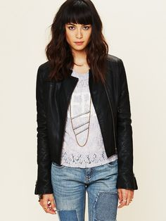 Free People Quilted Vegan Leather Jacket, $168.00