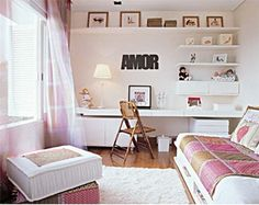 Bedroom Design Ideas For Teenage Girls Teen Bedroom . Teenage Girl Bedroom Designs, Girls Room Design, Teen Girl Bedrooms, Home Bedroom, Bedroom Decor, Bedroom Ideas, Bedroom Office, Home Office, Office Table