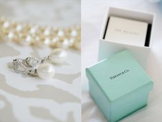 the bride's pearl earrings with a tiffany and co. box