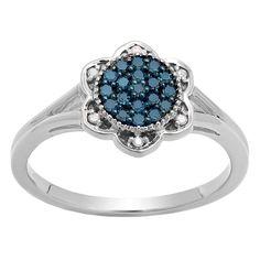 Elora 10k Gold 1/5ct TDW Round Blue and White Diamond Cluster Style Bridal Ring (I-J, I2-I3) (Size 4.5, White Gold), Women's, White I-J
