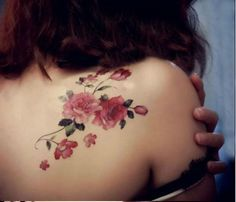 awesome Pink Flower and Leaves Shoulder Tattoo - Floral Tattoo