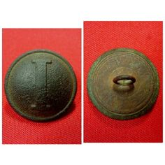 """A nice excavated coat size Confederate """"Lined I"""" uniform button. This was recovered on private property near Chickamauga, GA. and has a smooth chocolate patina with shank intact."""
