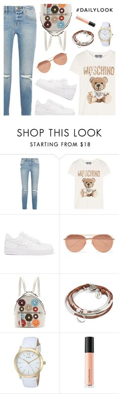 """""""Daily look"""" by dressedbyrose ❤ liked on Polyvore featuring Frame, Moschino, NIKE, Linda Farrow, Fendi, Lizzy James, GUESS, Bare Escentuals, casual and ootd"""