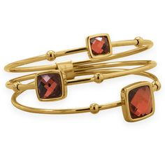 Three Row Gold Plated Stainless Steel Bangle with Red Faceted Glass
