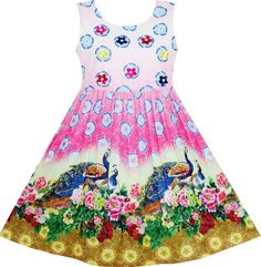 Girls Dress Chinese Peacock Peony Flower Circle Pattern Size 5 ** You can find more details by visiting the image link. (This is an affiliate link) Kids Outfits Girls, Girl Outfits, Girls Dresses, Flower Girl Dresses, Feather Angel Wings, Casual Dresses, Fashion Dresses, Flower Circle, Circle Pattern