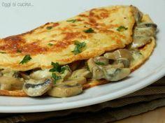 Crepes con funghi e formaggio cremoso
