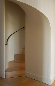 Dazzling Spiral Stairs trend Other Metro Contemporary Staircase Decoration ideas with handrail minimal neutral colors spiral staircase wood flooring wooden staircase wrought iron railing