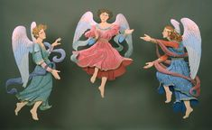Paper Angels: Done as Christmas window for Fortunoff's New York Store, they are life size.