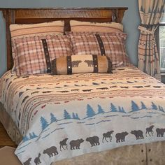 Juneau bedding is interlaced with tree and landscape patterns with moose and bear as well.    Cabin decor & bedding