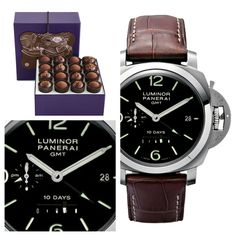 Not your typical chocolate - salty & smoky with bacon. Who said you can't buy love? Bacon Truffle Collection & Panerai Luminor 1950 10 days GMT 44MM