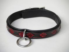 Small 5/8 BDSM Leather Collar | Black and Red Collar | Sub Collar | Slave Collar | Submissive Collar by DarkNatureAesthetics on Etsy