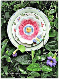 Butterfly Plate Flower Garden Stake  As by GardenWhimsiesByMary, $40.00