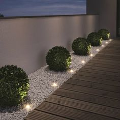 "Gartenleuchten – schönes Licht für draußen: Mobil: LED-Gartenleuchte ""Oco"" von Santa & Cole Just as big as two paperclips are the ""Noxlite LED Garden Spots"" from Osram. Nine of them are connected to a 10 meter cable with … Back Gardens, Outdoor Gardens, Small Front Gardens, Modern Front Yard, Front Yard Ideas, Front Garden Ideas Driveway, Front Yard Design, House Yard Design, Front Yard Fence Ideas Curb Appeal"