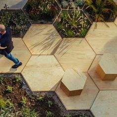 Zighizaghi Park: Project: Zighizaghi Park Architects: OFL Architecture Location: Favara, Italy Year: 2016Zighizaghi Park is a multi-sensory urban space that was built to enhance a formerly empty urban corner into a dynamic and welcoming place. The key element in this project is its use of hexagons - inspired by the honeycomb pattern of bees. On a horizontal plane, wooden hexagons come together in different configurations to create pathways and seating interspersed with planting. On the…