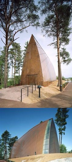 The Helsinki based Sanaksenaho Architects realised this copper cladded church on an island close to Turku / Finland. Public Architecture, Light Architecture, Amazing Architecture, Song Of The Sea, Nordic Lights, Meditation Space, Church Building, Forest House, Chapel Wedding