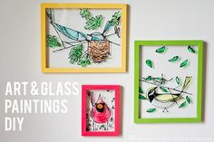 Easy glass painting projects contains DIY glass paint techniques and ideas to make beautiful designs and patterns using stain glass paints on different base Stained Glass Paint, Stained Glass Projects, Crafty Craft, Crafting, Crafts To Do, Diy Painting, Diy Art, Art Lessons, Wall Art Decor