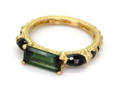 Green Tourmaline with Black Sapphires Rapunzel Ring - Polly Wales
