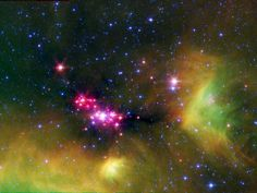 Stellar Babies by nasa.gov: Infant stars glow gloriously pink in this infrared image of the Serpens Constellation's star-forming region, located approximately 8484 light-years away. #Stellar_Babies #nasa #Serpens_Constellation #nasa