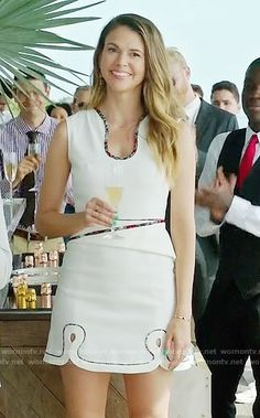 Liza's white dress with contrasting trim on Younger.  Outfit Details: https://wornontv.net/63499/ #Younger