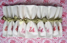"""Embroidered wedding napkins that will have your guests thinking """"EA: It's in the game."""""""