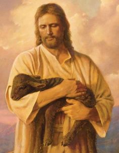 Del Parson  I know this is a lamb, but I can just see my Babydoll in the arms of Jesus in this painting.  lcs