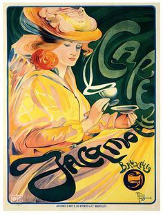 Cafe Jacqmotte poster, 1896, art by Fernand Toussaint. #Victorian #art #French