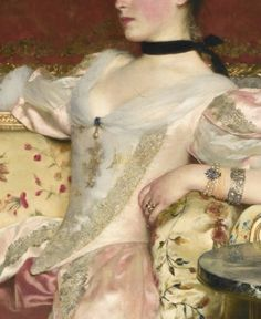 Traveling through history of Art.'Portrait of a Lady', detail, by Wladislaw Czachorski, century. Classic Paintings, Old Paintings, Romantic Paintings, Aesthetic Painting, Aesthetic Art, Fashion History, Fashion Art, Art Texture, Princess Aesthetic