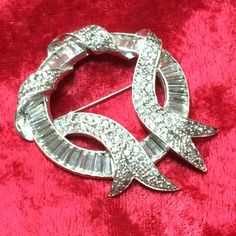 Dazzling Vintage Art Deco 1940's Elegant Pin/Brooch with Clear Baguette & Pave' Set Rhinestones by CrowsNestAntiques on Etsy