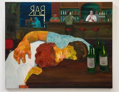Nicole Eisenman, Sloppy Bar Room Kiss , oil on canvas, 39 x 48 in. Collection of Cathy and Jonathan Miller. Courtesy the artist and Susanne Vielmetter Los Angeles Projects. Institute Of Contemporary Art, Contemporary Paintings, Figure Painting, Painting & Drawing, Art Basel, Bard College, Expositions, The New Yorker, Santa Monica