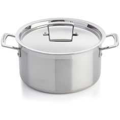Crate & Barrel Le Creuset ® 6.4 qt. Stainless Steel Stock Pot with Lid (560 BRL) ❤ liked on Polyvore featuring home, kitchen & dining, cookware, stainless steel sauce pot, stainless stockpot, stainless stock pot, stainless steel stockpot and soup pot