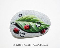 Painted Stone Ladybugs On A Leaf with Dew Drops  by RockArtAttack