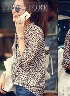 Shop Korean Style Leopard V-Neckline Long Sleeve Chiffon Ladys Blouse on sale at Tidestore with trendy design and good price. Come and find more fashion Blouses here. Smoking Flats, Leopard Shirt, Animal Print Blouse, Blouse Styles, Cheap Dresses, Different Styles, Lady, Korean Fashion, Fashion Dresses