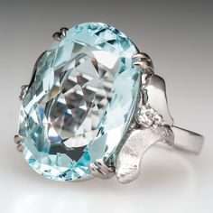 H. Stern Aquamarine Cocktail Ring Diamond Accents 18K White Gold