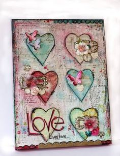 Kathie Link wall canvas  MAYBE mural size with words on hearts, faith, joy, love, kindness, etc. or fruits of the spirit on each one.?