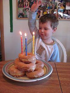 """birthday donut """"cake"""" on birthday AM"""