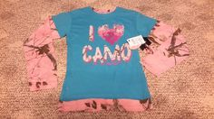 Realtree Ranger Girl Graphic T-Shirt,I Love CAMO,Blue, Pink,Cotton Blend LS NWT  #Realtree #Everyday
