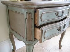 French Provincial - painted in Annie Sloan Duck Egg Blue and Cocoa with one coat of clear wax followed by several liberal coats of dark wax