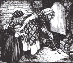 ' cried the witch. 'The opening is big enough: you can see that I could get into it myself.' Illustration by Arthur Rackham from Hansel and Gretel – and Other Siblings Forsaken in Forests (Origins of Fairy Tales from Around the World) Arthur Rackham, Illustrators, Image Illustration, Illustration, Modern Fairytale, Art, Fairy Tales, Woodcut, Ink Illustrations