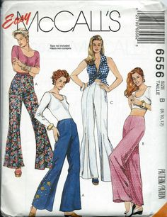 McCall's 6556 Easy Misses Bell Bottom Pants Pattern, Size 8-12, UNCUT by DawnsDesignBoutique on Etsy