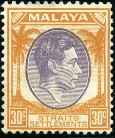 Malacca (Melaka) stamp, 1949 and of course with the head of George VI. Nice colour scheming on this one. Old Stamps, Vintage Stamps, Strait Of Malacca, Straits Settlements, Crown Colony, Cocos Island, Labuan, Kuching, Ipoh