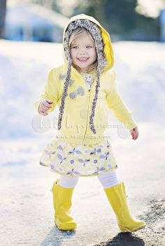 Cutie patootie. Yellow hoodie, yellow and gray print skirt, and bright yellow Wellies are adorable on this little girl. (heidi hope photography)