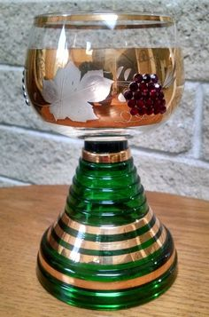 Roemer Musical Wine Glass  Goblet Green and Gold with Ruby Rhinestones Grape Motif - German - Plays Trink Bruderlein -Swiss Musical Movement by ClassyVintageGlass on Etsy